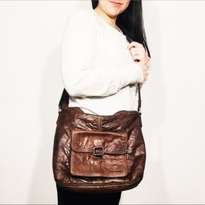 Jack Georges brown Leather Crossbody bag EUC